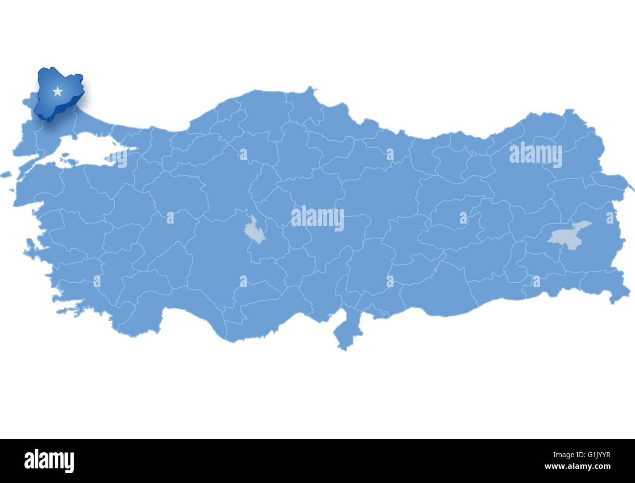 Map of Turkey where Kirklareli province is pulled out, isolated on ...