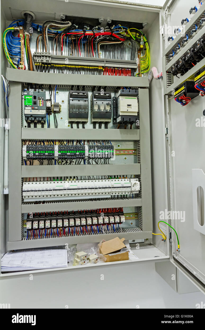 Electrical Switchboard Stock Photos Gt Enclosures Panels Boards Boxes Automatic Programming Relay Has Control Over Panel Power Lines Located Inside Of The Switch