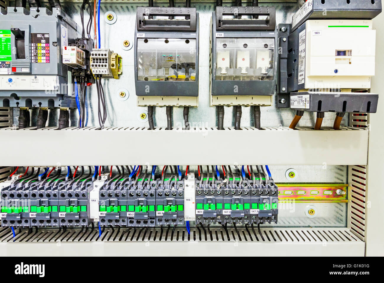 Electrical Relay Switch Stock Photos Power Automatic Programming Has Control Over Panel Lines Located Inside Of The