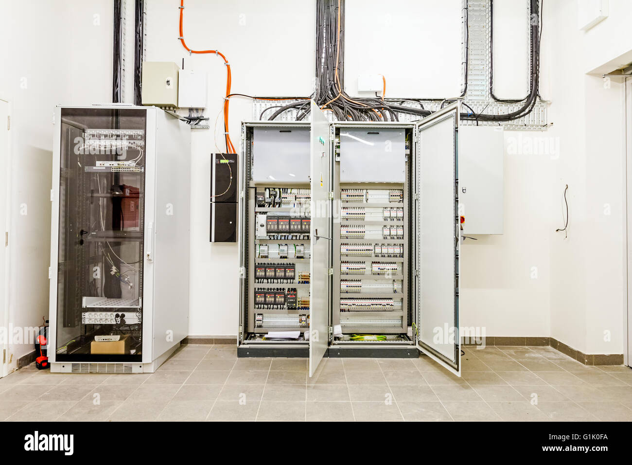 Power Switchboard Stock Photos Images Alamy Switchover Relay Automatic Programming Has Control Over Electrical Panel Lines Located Inside Of The Switch
