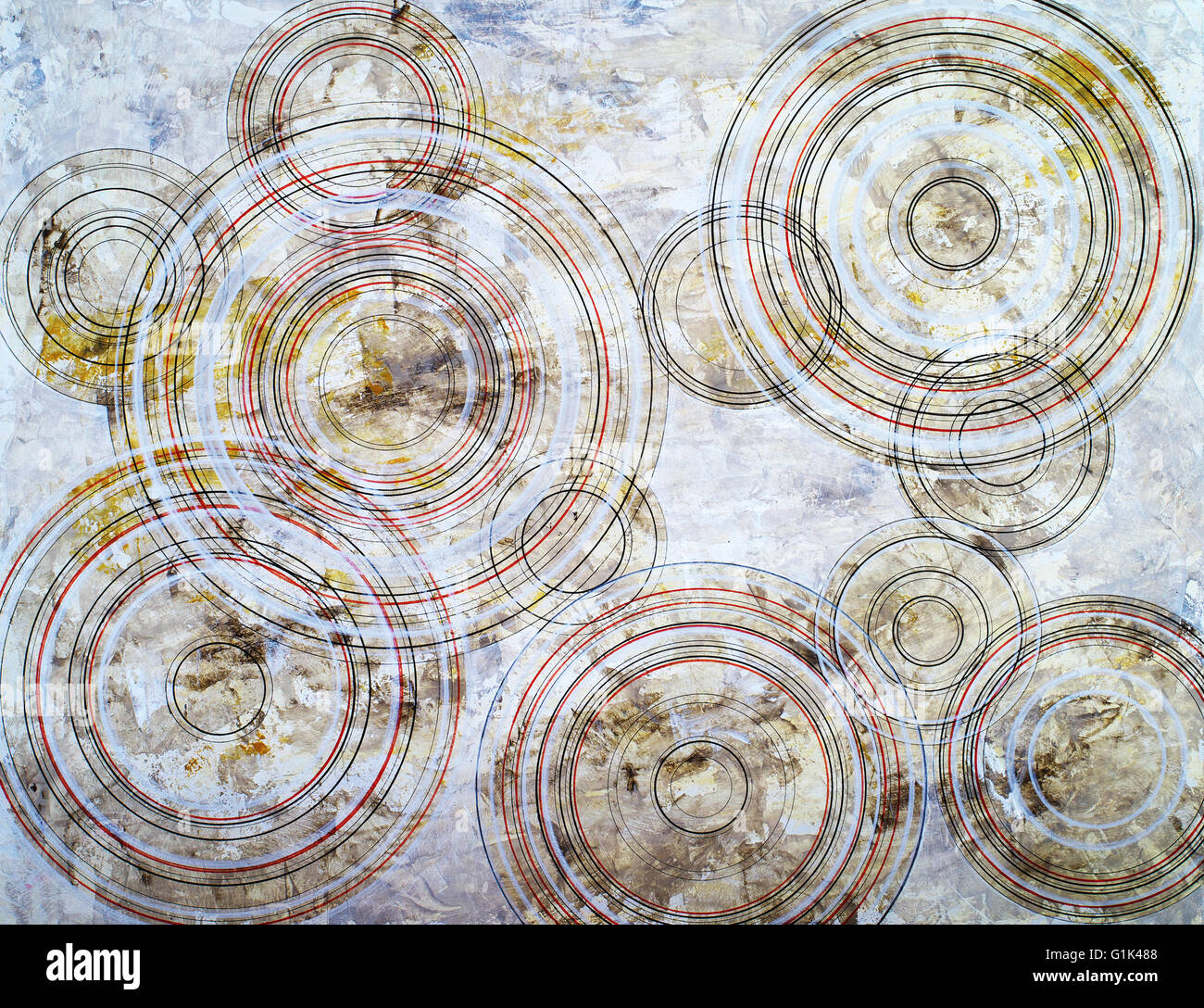 an abstract painting; concentric circles on a grunge background - Stock Image