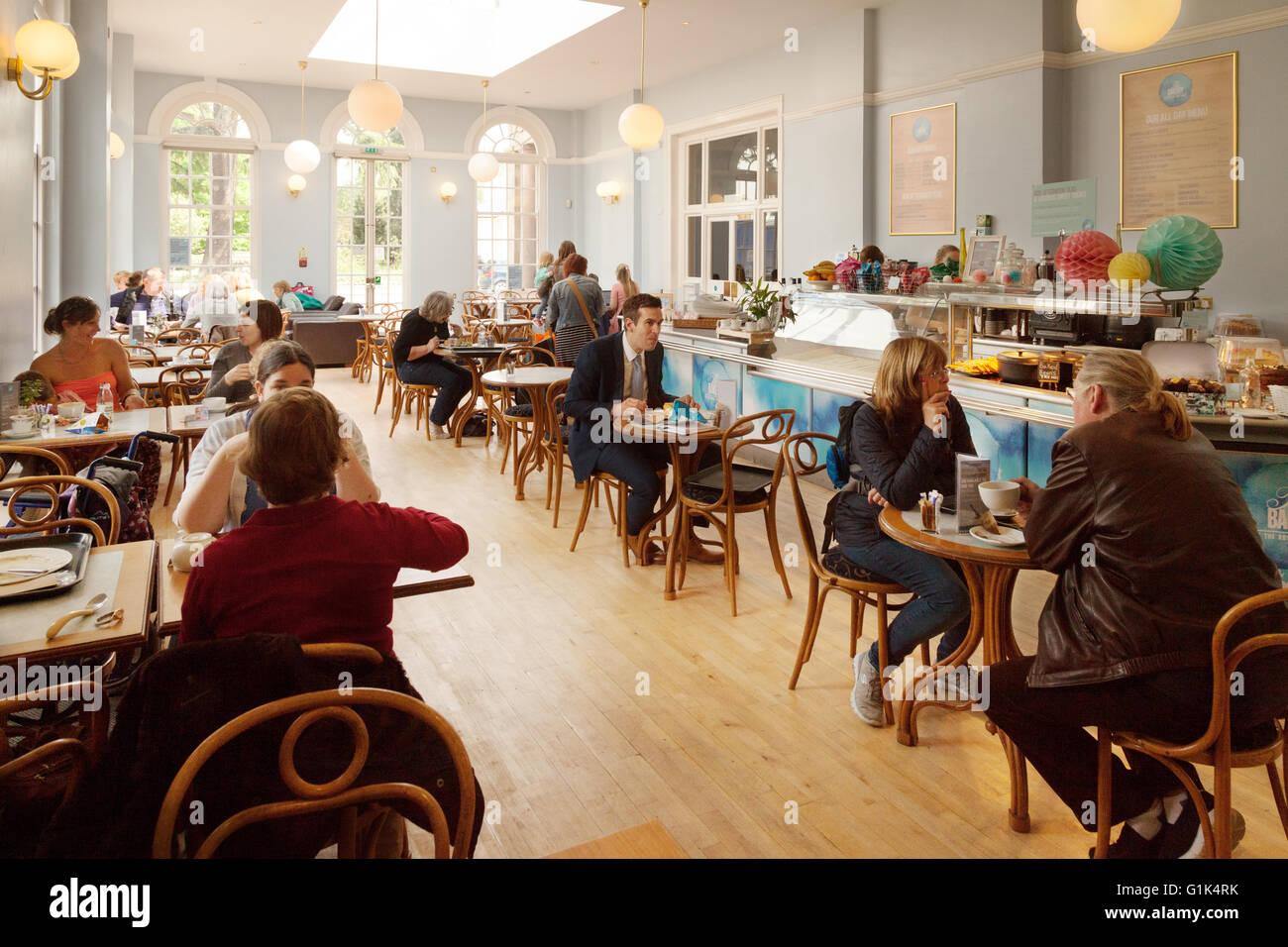 The Pump Room tea room cafe, Pump Rooms, Royal Leamington Spa, Warwickshire UK - Stock Image
