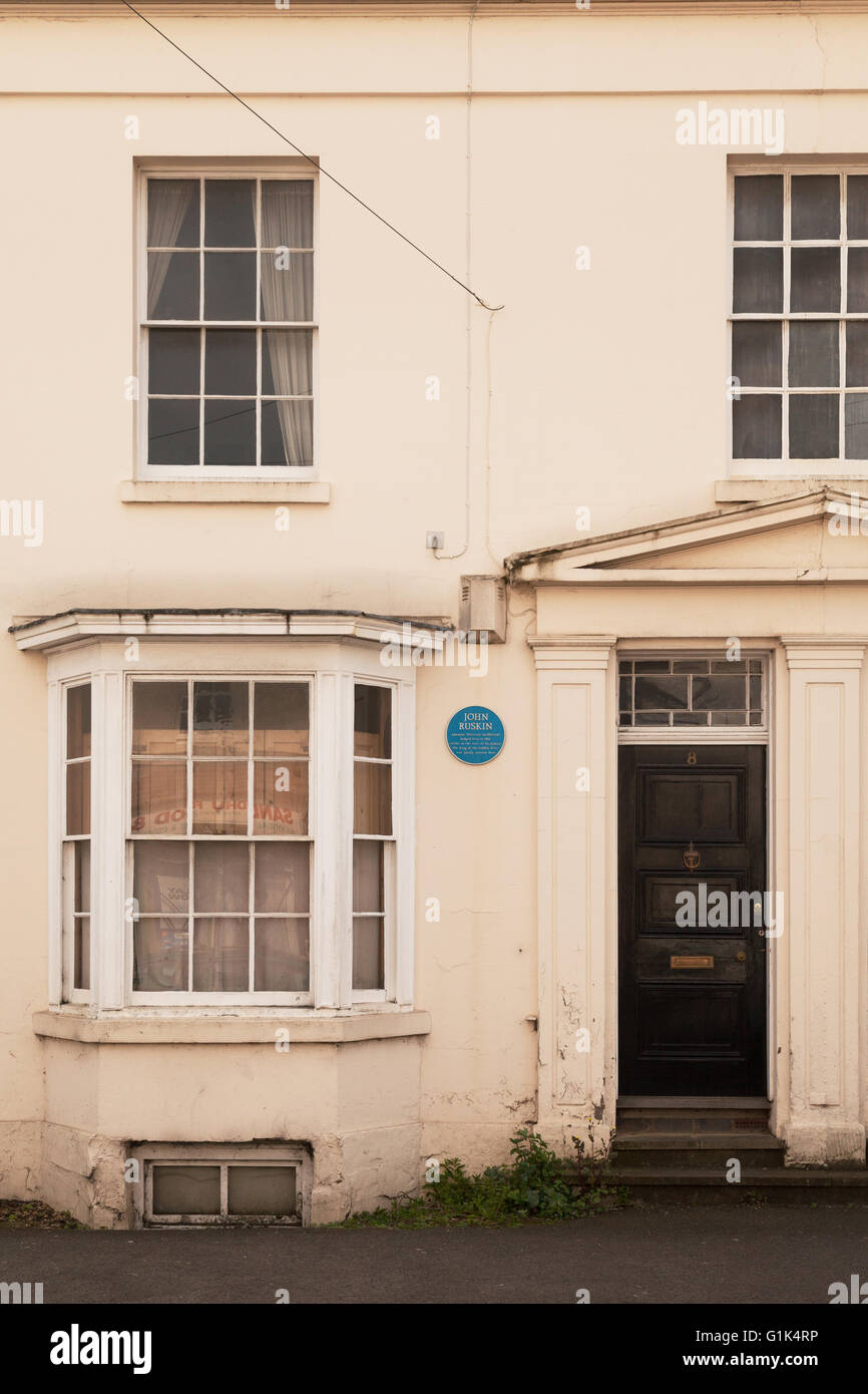 The house in Leamington Spa where the 19th century critic John Ruskin lived, with  blue plaque; Leamington Spa, - Stock Image