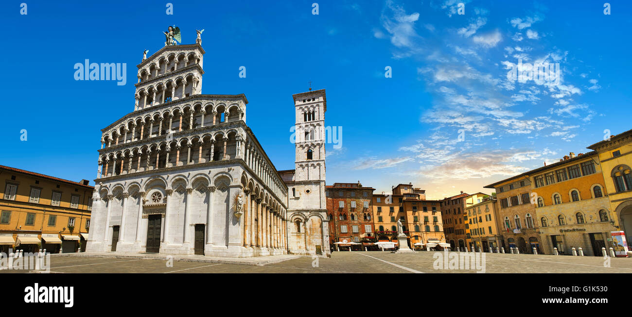 10th century San Michele in Foro is a Roman Catholic basilica church in Lucca, facade 13h century Romanesque , Tunscany, - Stock Image