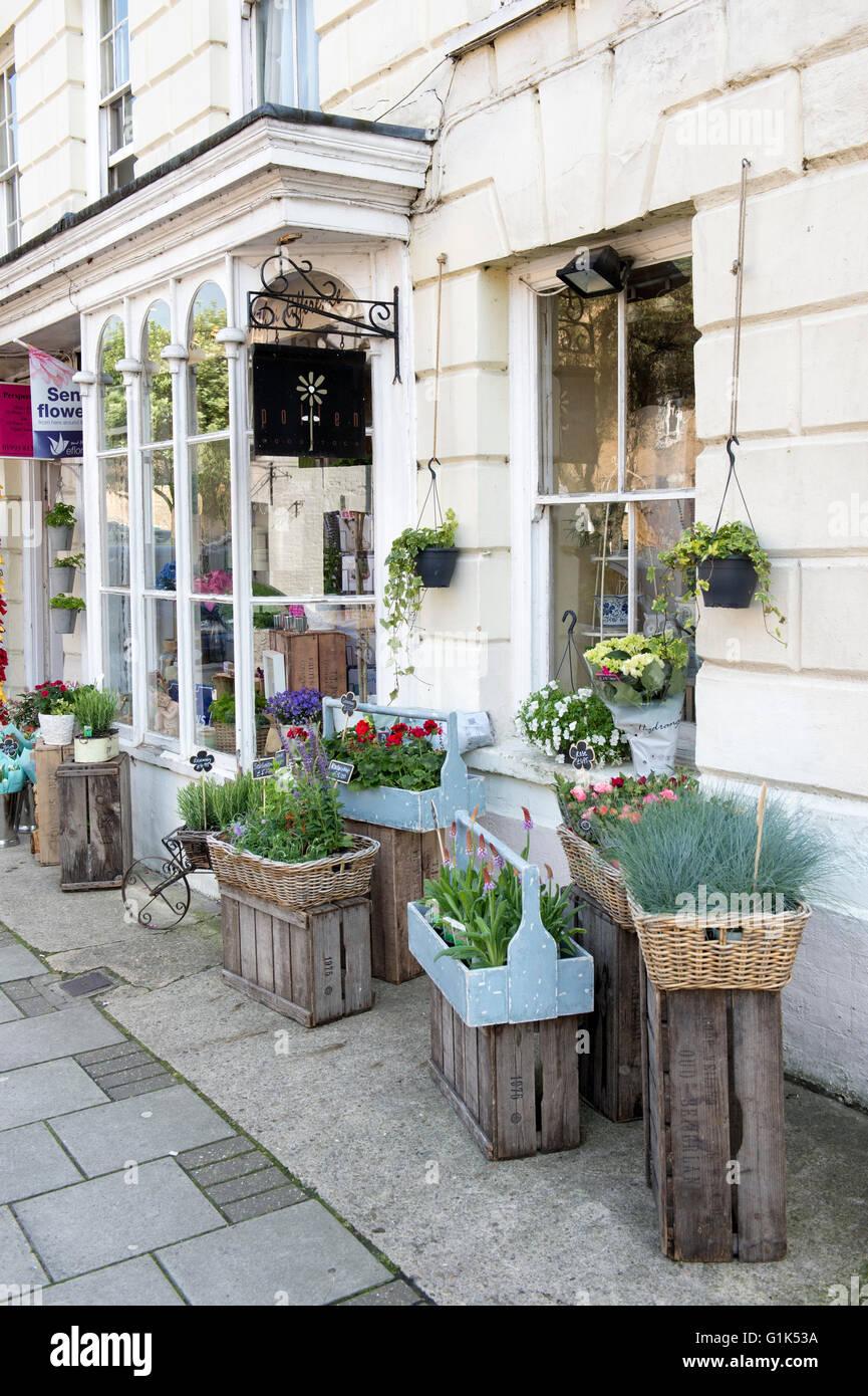 Florist Shop display, Woodstock, Oxfordshire, England - Stock Image