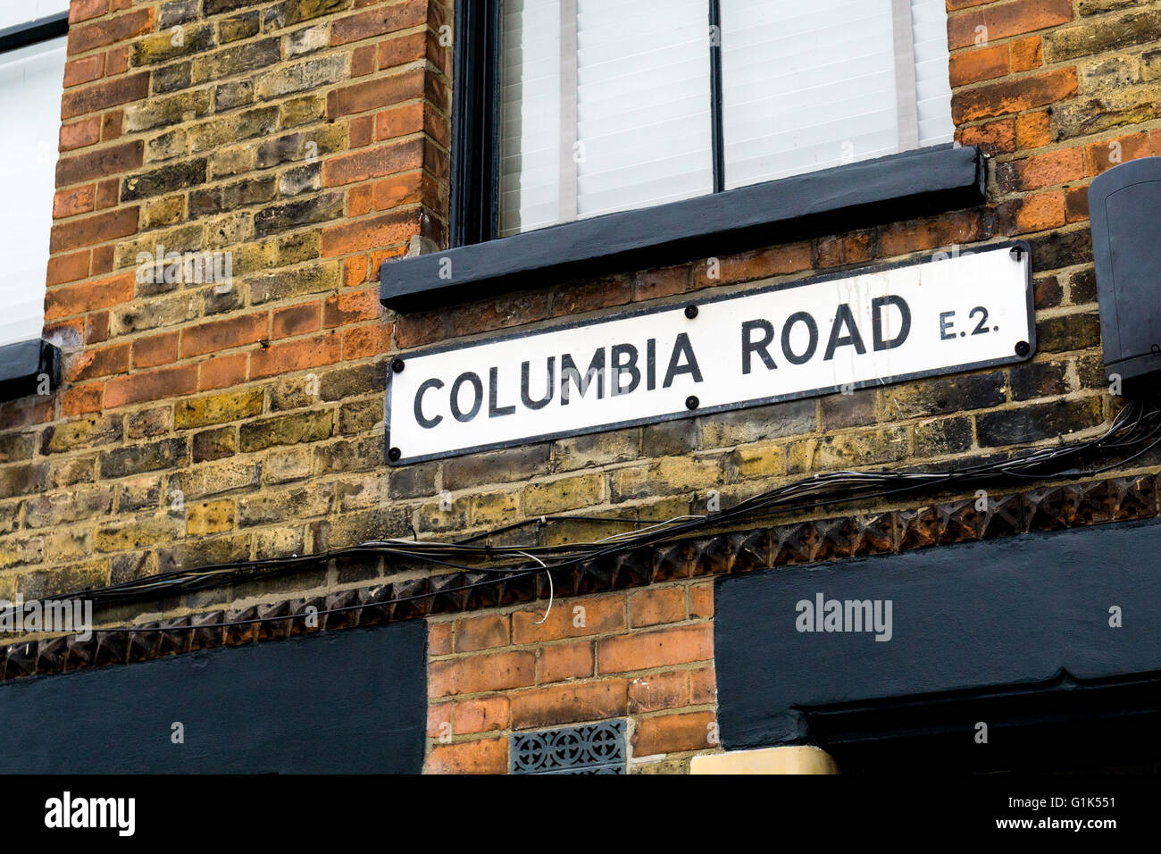 Columbia Road street sign in London E2. This road hosts a popular weekly flower market on Sundays - Stock Image
