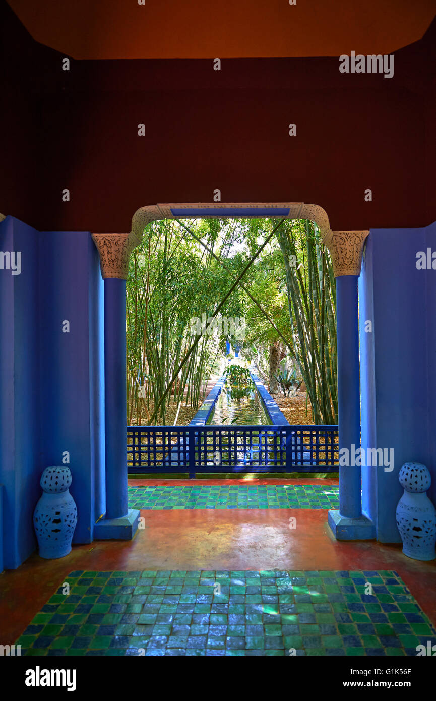 The Majorelle Garden botanical garden designed by French artist Jacques Majorelle in the 1920s and 1930s, Marrakesh, - Stock Image