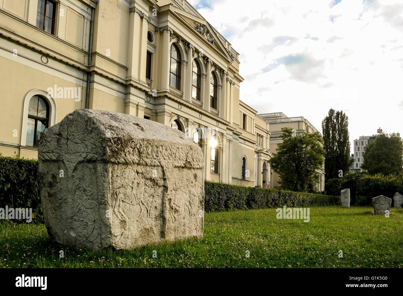 Gravestone showing horseman in front of the National Museum of Bosnia and Herzegovina. - Stock Image