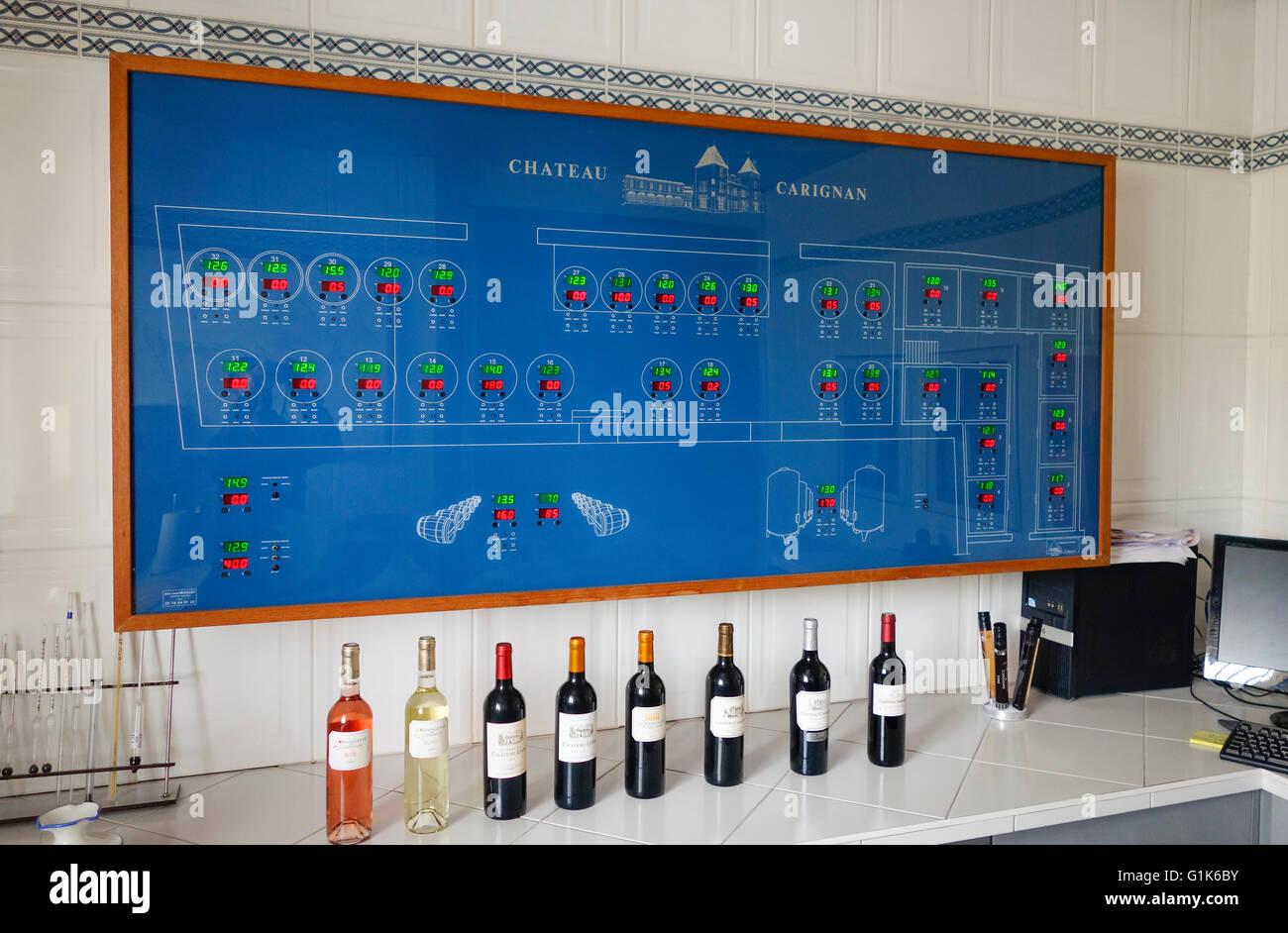 Temperature control panel of wine barrels and fermentation tanks, Wine Estate Chateau Carignan, Carignan de Bordeaux, - Stock Image