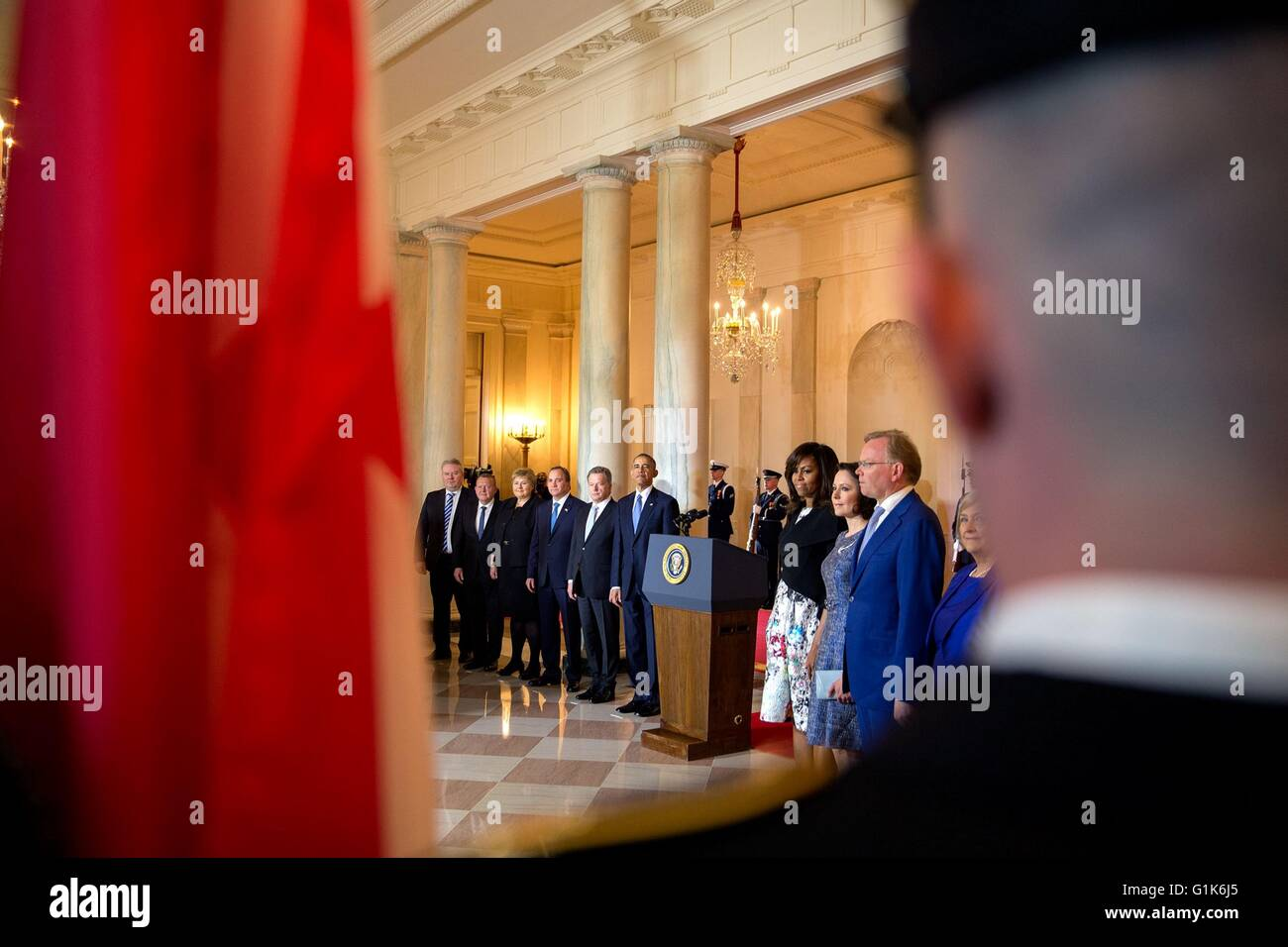 U.S President Barack Obama and the Nordic leaders view the presentation of colors in the Grand Foyer during the - Stock Image