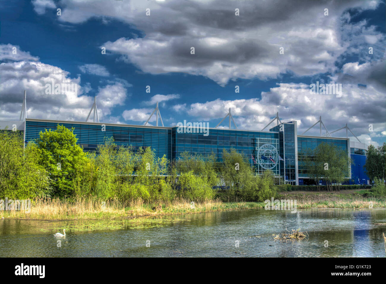 HDR Image over the River Soar to the King Power Stadium home of Leicester City the 2015/2016 Premier League Champions, - Stock Image