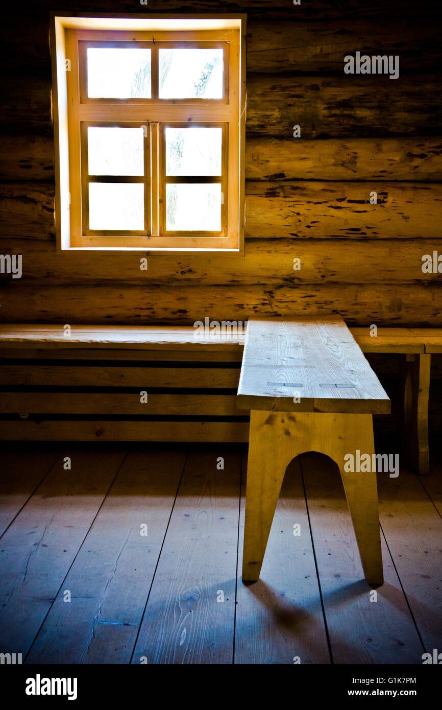 interior of a wooden log cabin Stock Photo
