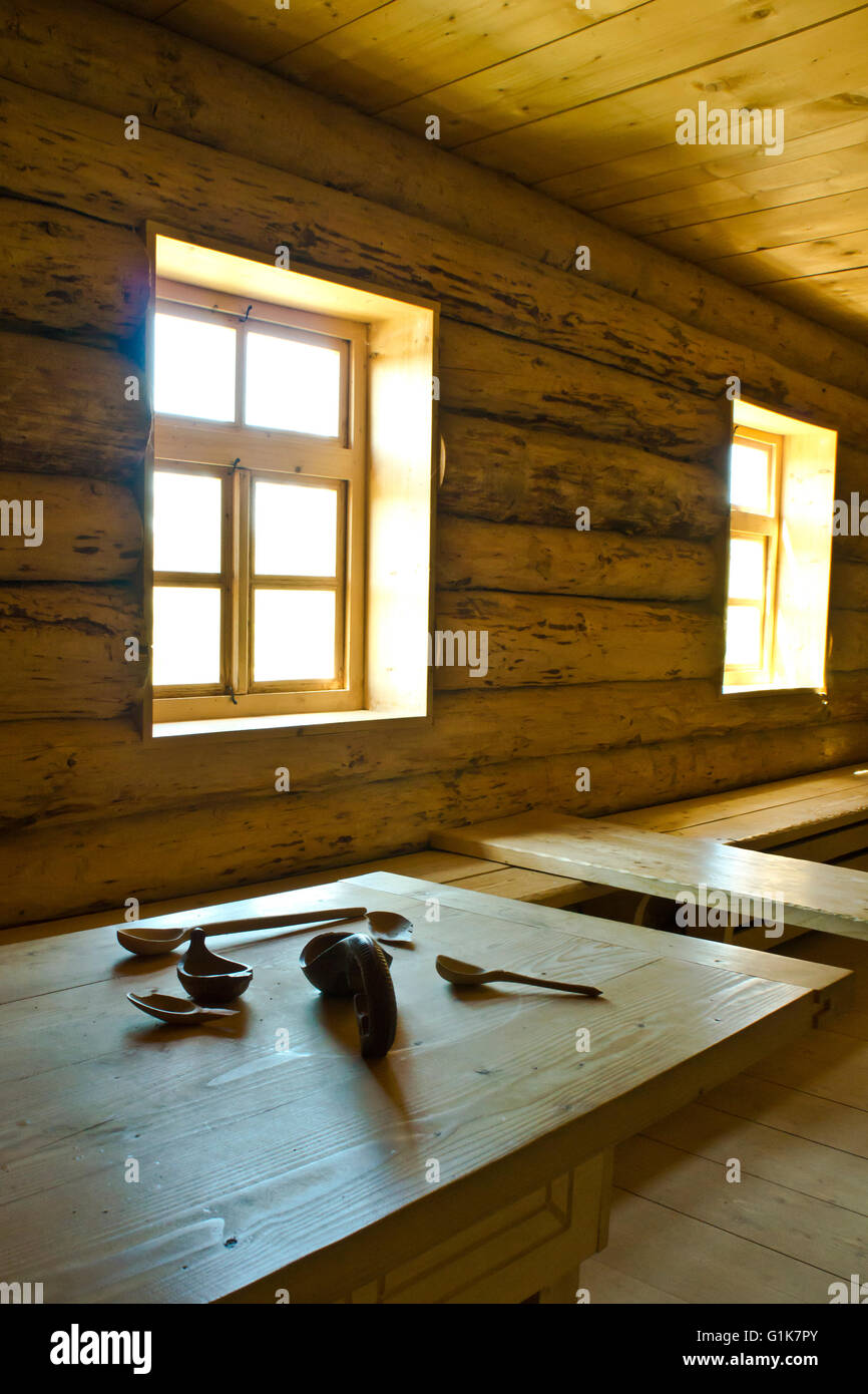 interior of a wooden log cabin - Stock Image