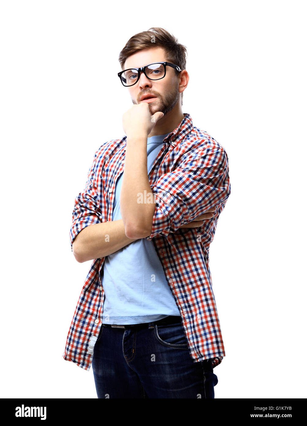 24e120ea47f Latin hipster guy wearing glasses with his arms crossed and smiling on  white background
