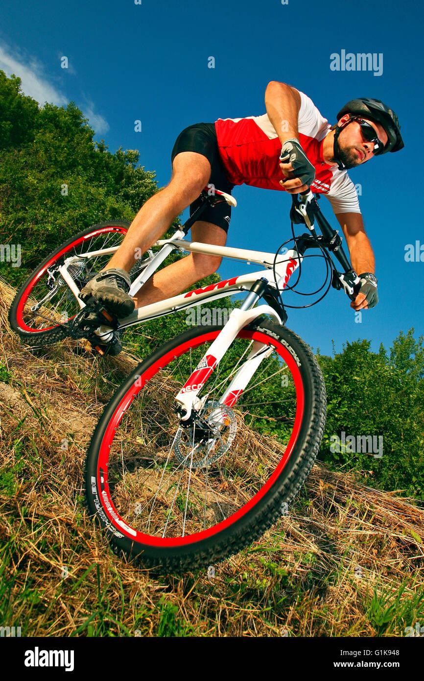 mountain bike rider - Stock Image