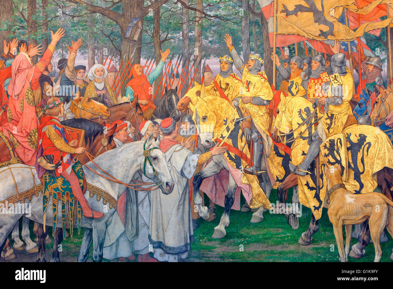 A mural painting depicting the Flemish victory at the Battle of the Golden Spurs (1302) inside the town hall in - Stock Image
