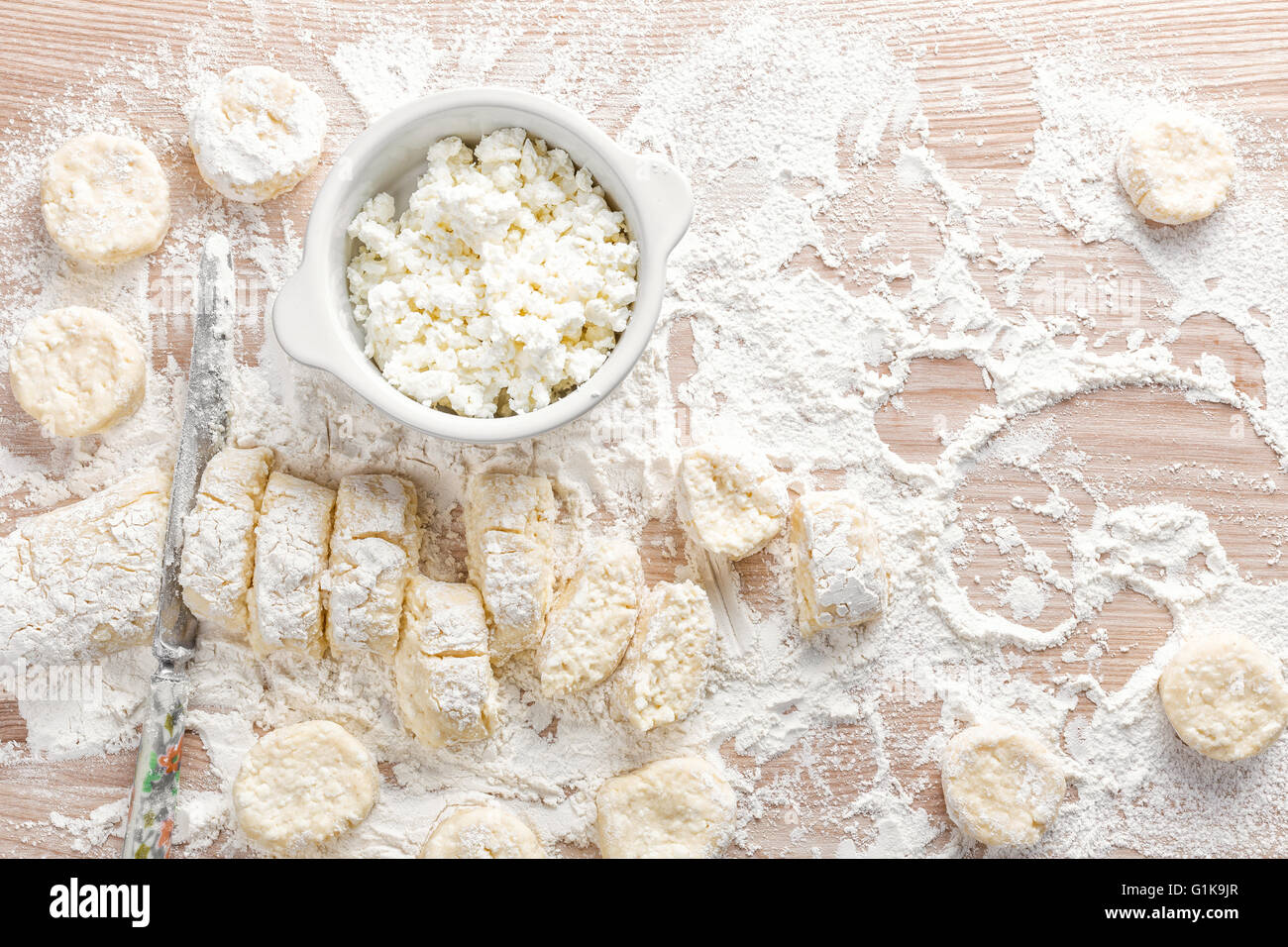 cooking cheese fritters - Stock Image