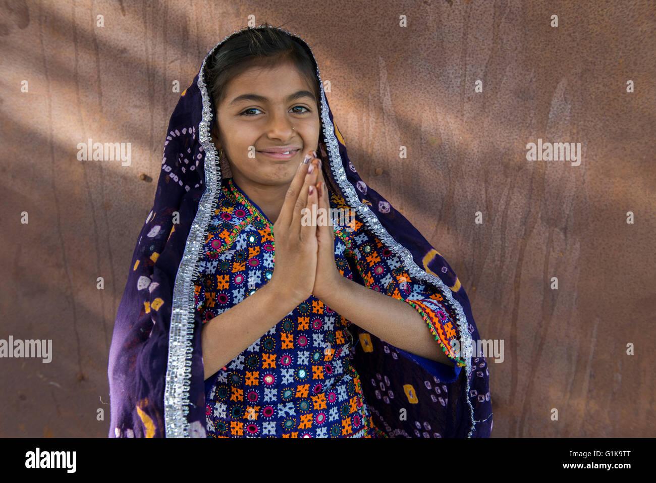 Ahir Girl, Kutch - Stock Image