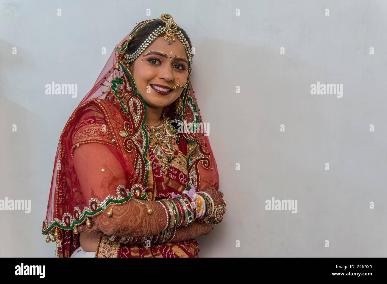 Ahir Bride At Her Wedding, Kutch - Stock Image