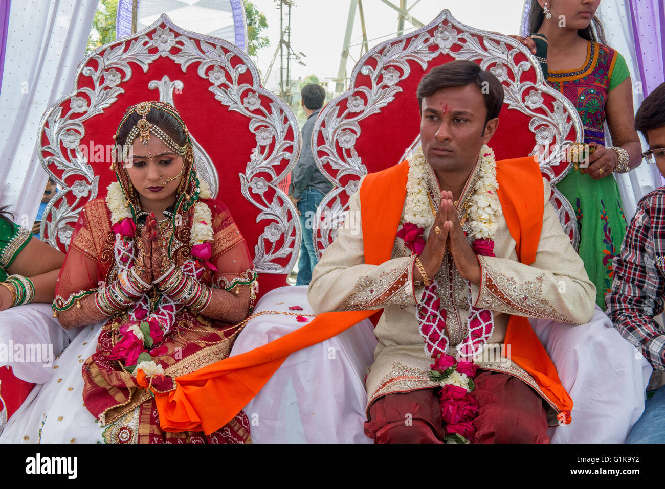 Ahir Couple At Their Wedding, Kutch - Stock Image