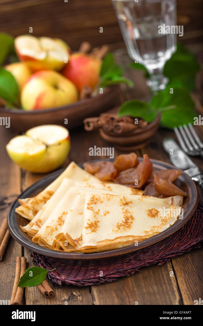 pancakes with apples - Stock Image