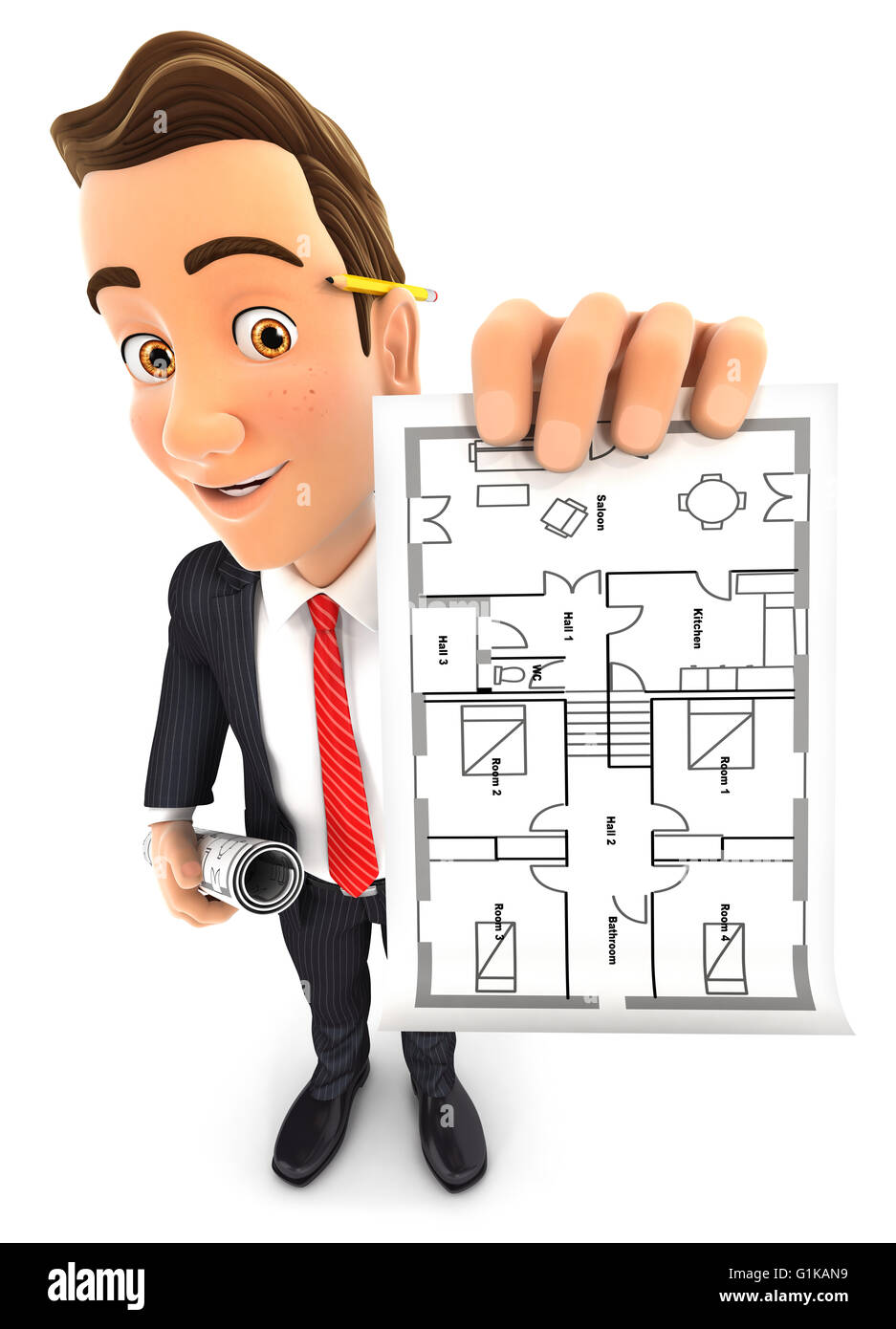 3d businessman holding house plan, isolated white background Stock Photo