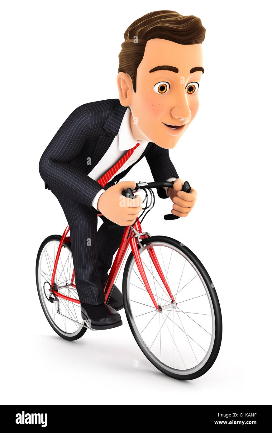 3d businessman riding a bike, isolated white background Stock Photo