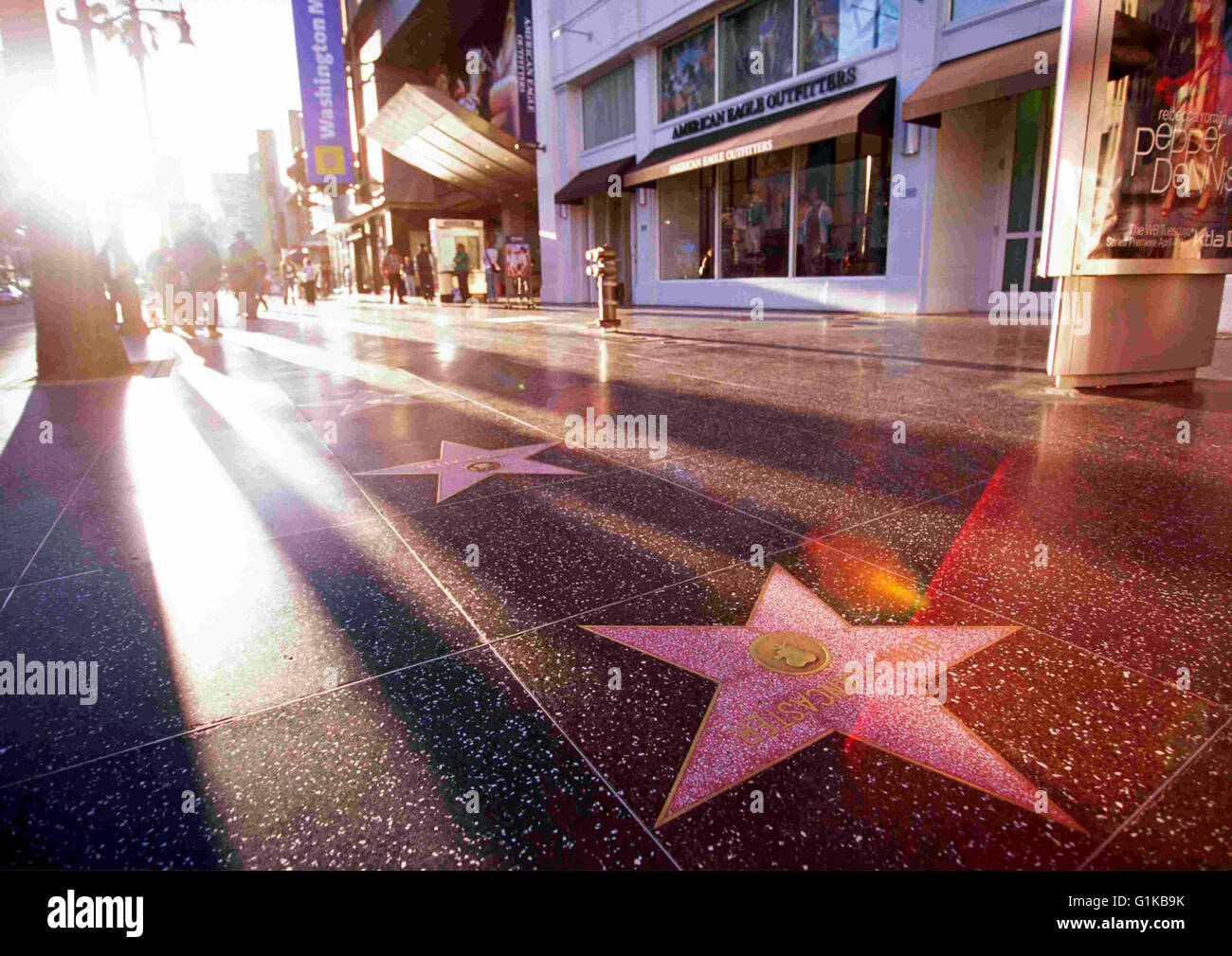 The Hollywood Walk of Fame in Hollywood, Los Angeles, California - Stock Image