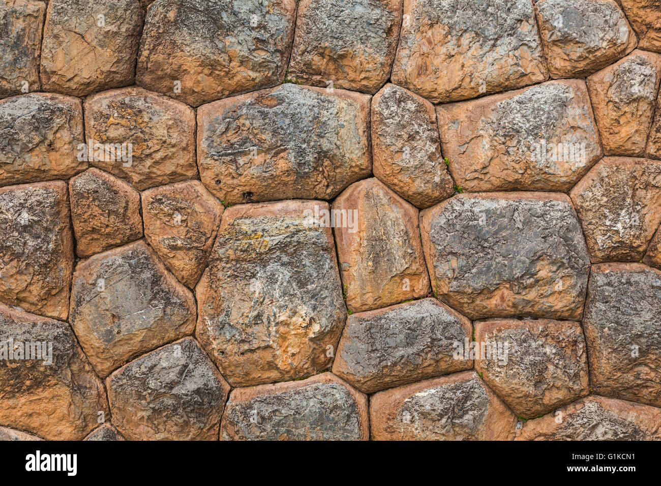 Abstract image of a dry stacked Incan wall in the Andean village of Chinchero, Peru - Stock Image