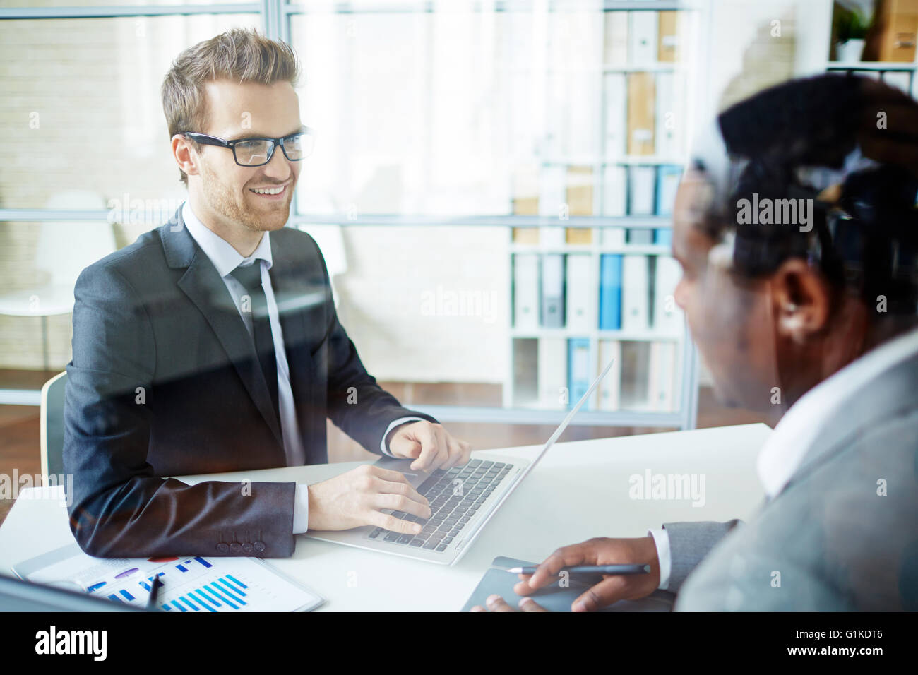 Talking to candidate - Stock Image