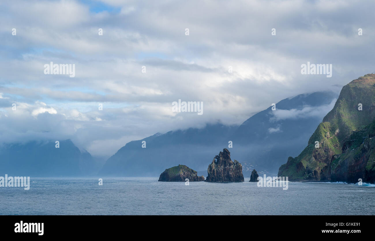 Rocks and islands in Atlantic ocean landscape - Stock Image