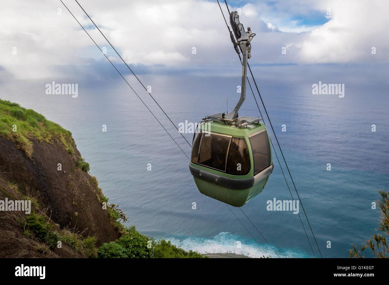 Cable car in Calhau das Achadas viewpoint - Stock Image