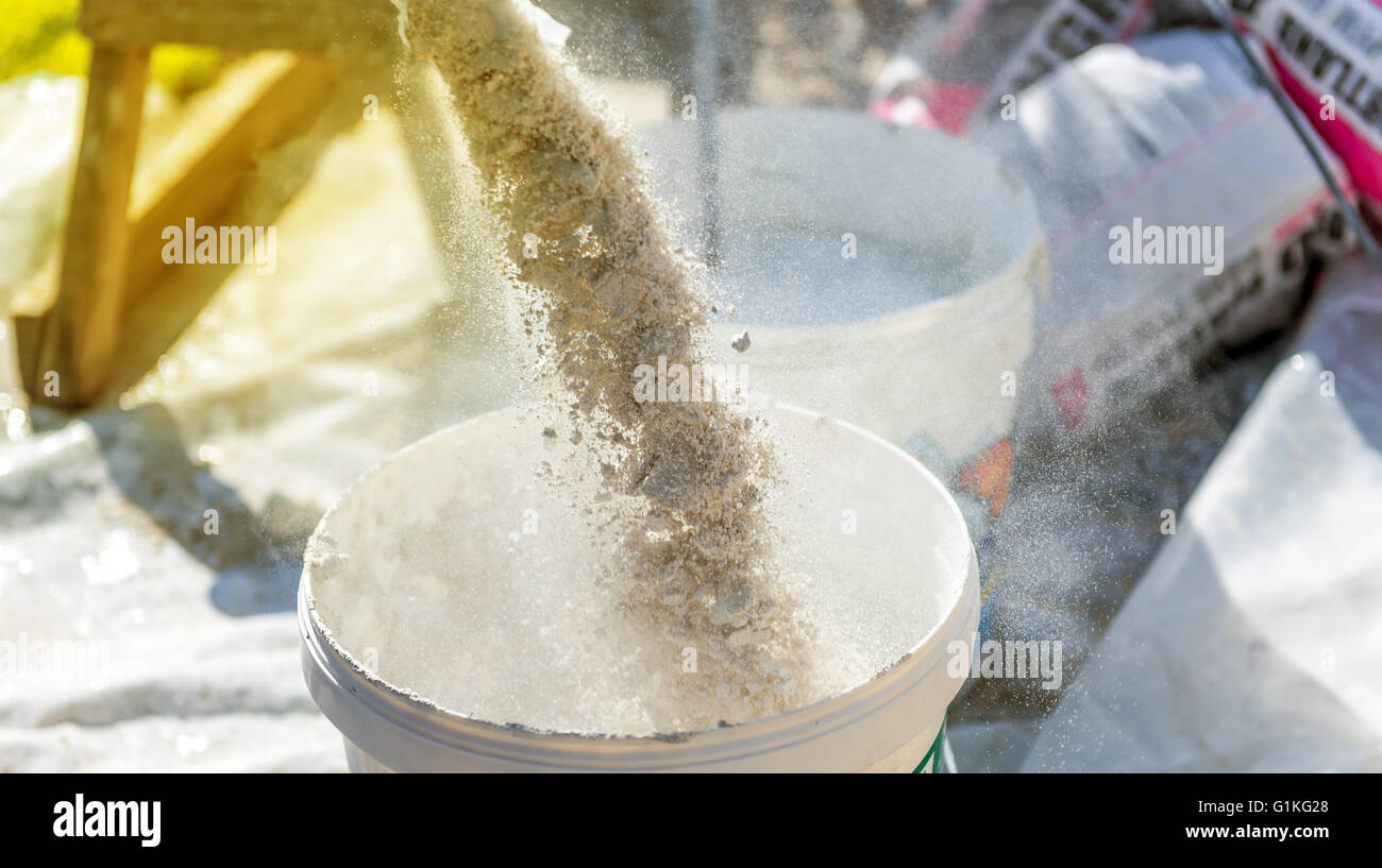 preparation of a plaster in a bucket Stock Photo