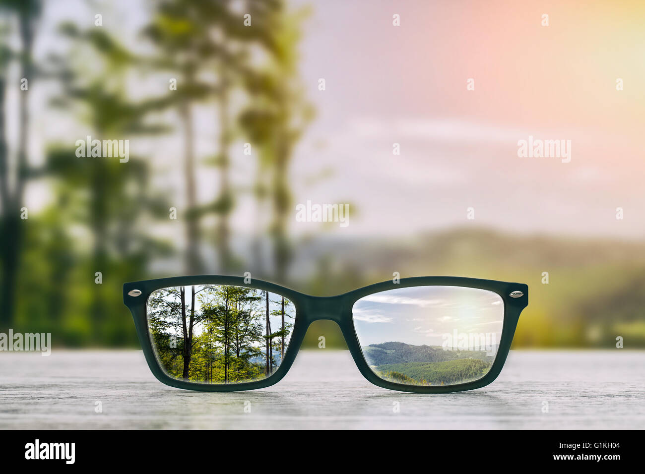 glasses focus background wooden - stock image - Stock Image