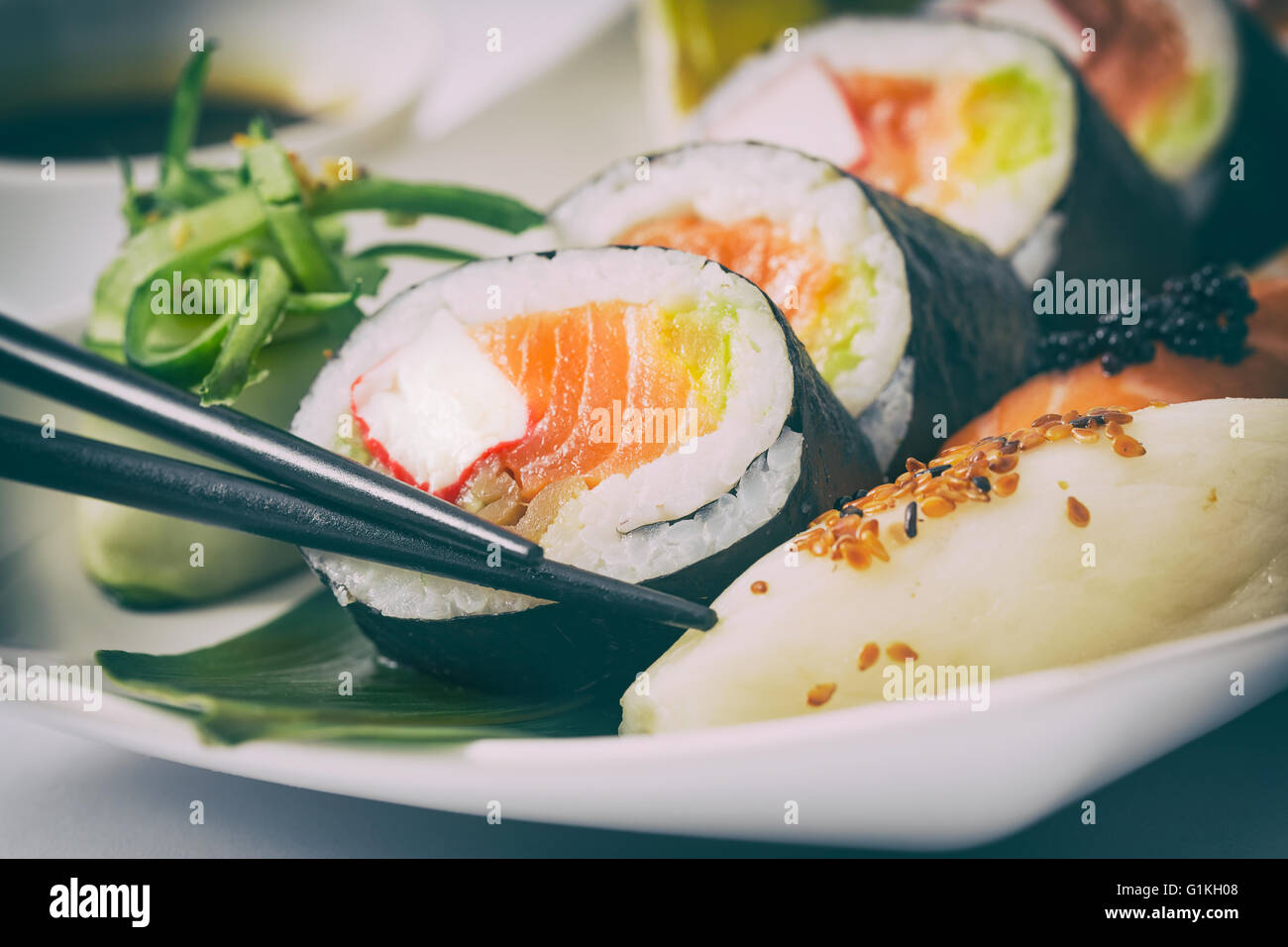 sushi roll raw makki fresh food seafood susi - stock image - Stock Image
