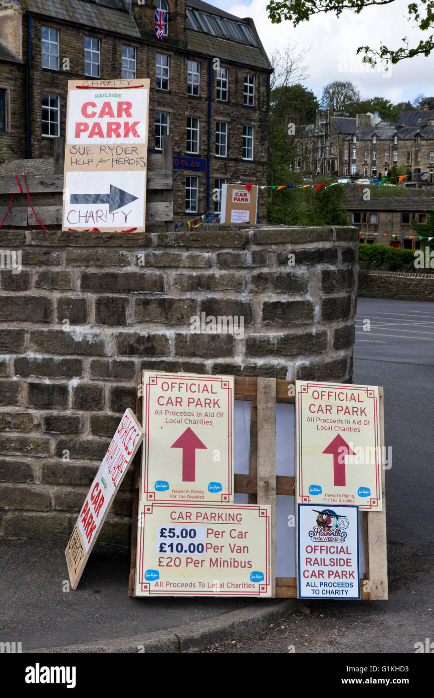 Temporary private car park in Haworth, Yorkshire, UK for expected tourist for 1940's wartime event. Stock Photo