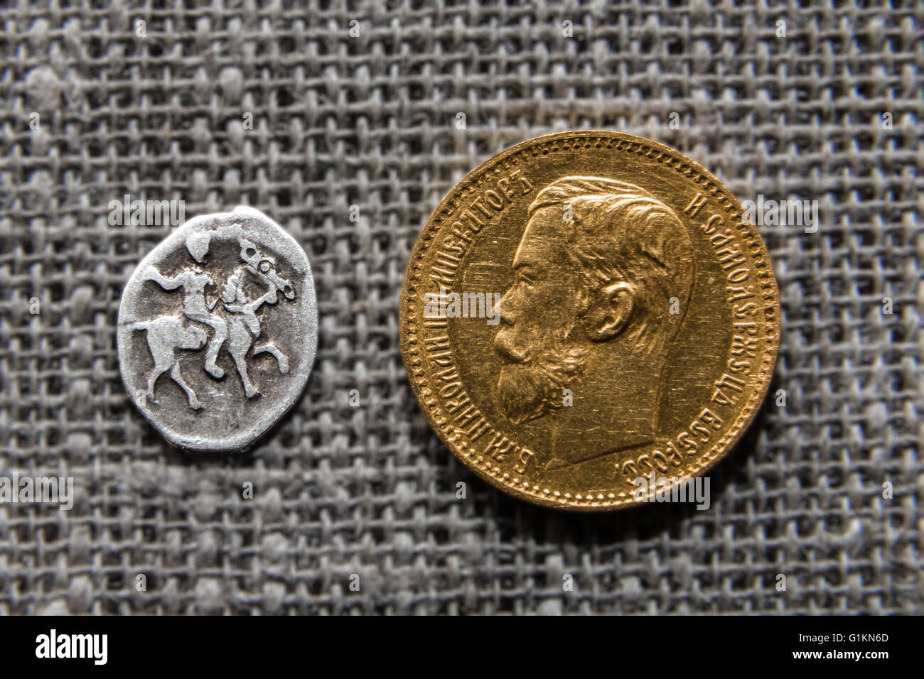 two Russian coins - Stock Image
