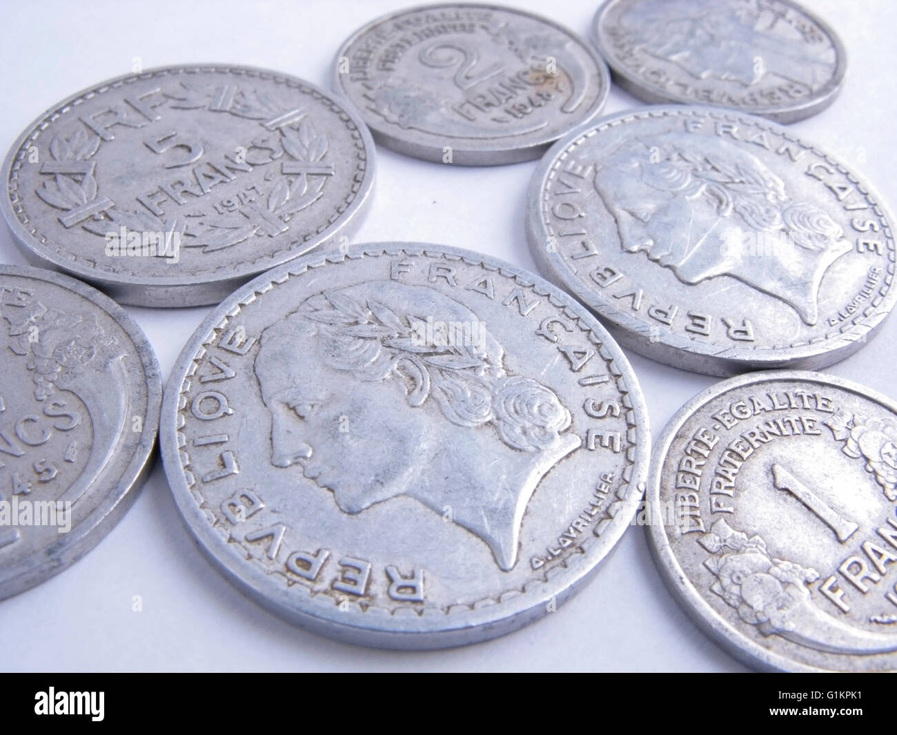 Picture of a bulk lot of old french coins Stock Photo