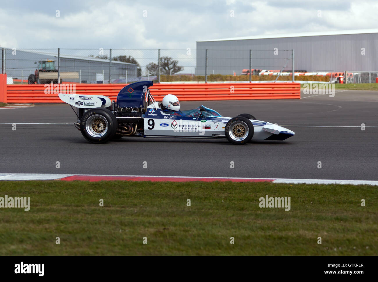 Judy Lyons driving a Surtees TS9 formula one racing car, during  the Silverstone Classic Media Test Day 2016. - Stock Image