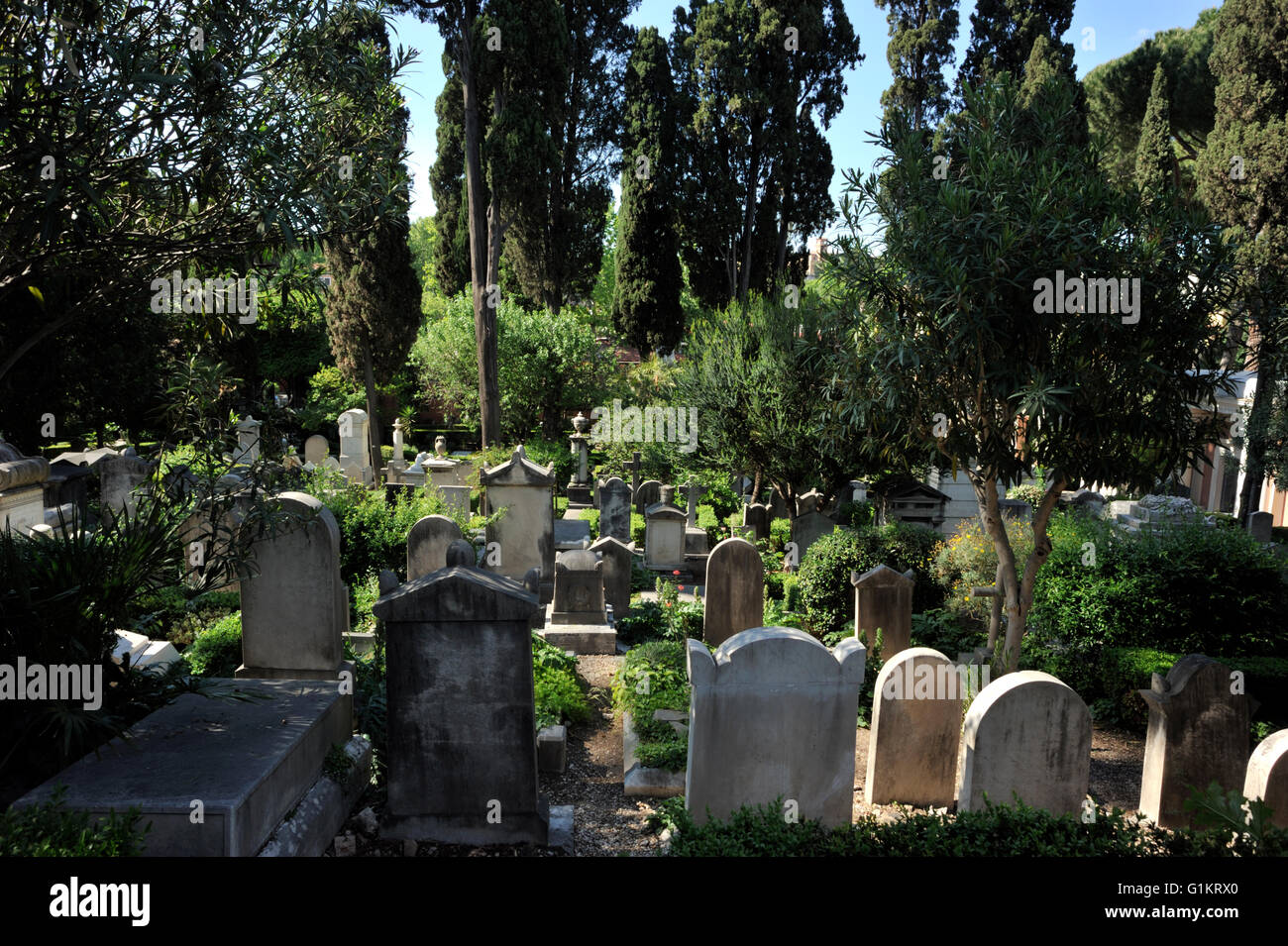 italy, rome, protestant cemetery, graveyards - Stock Image
