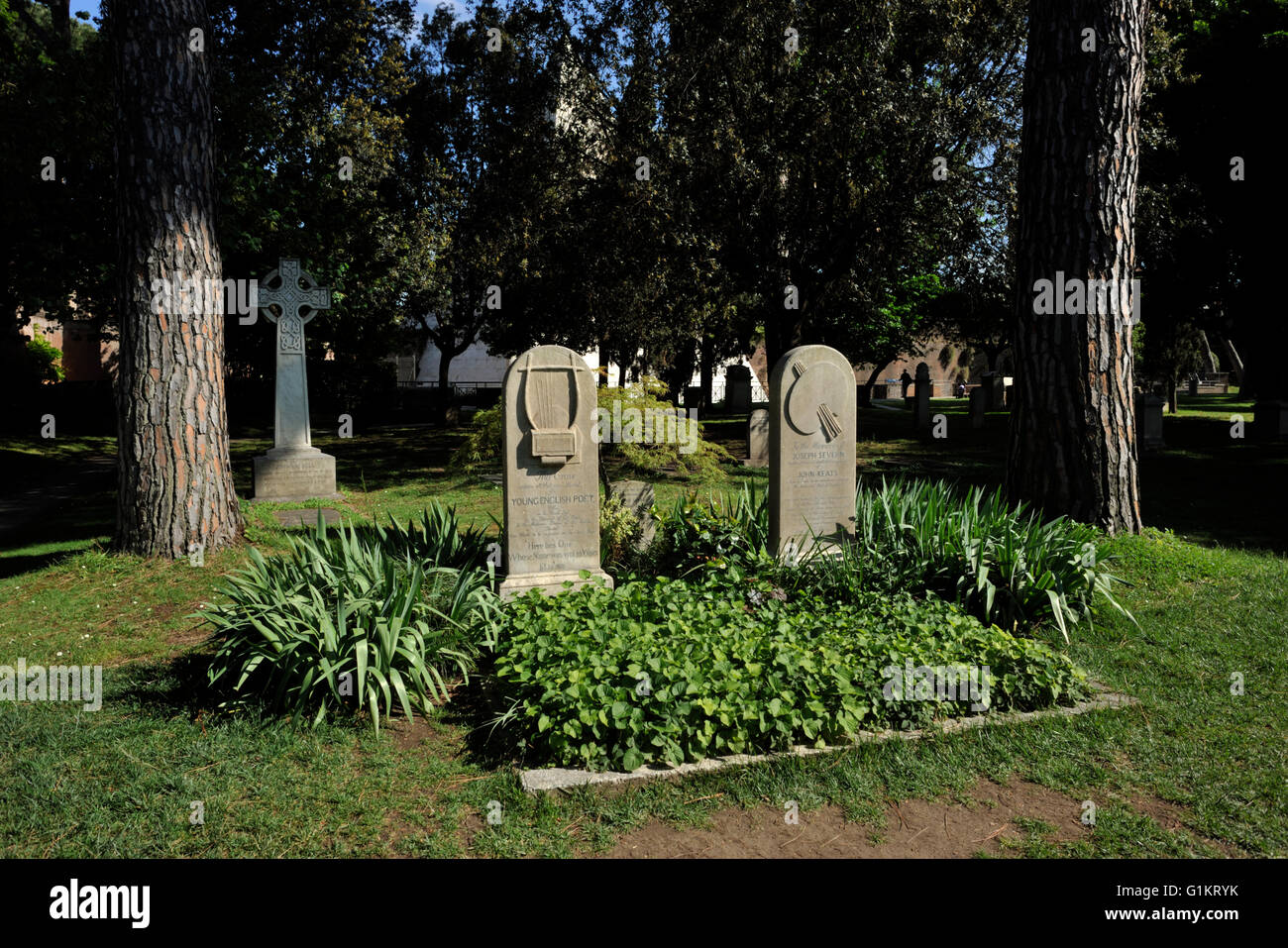 italy, rome, protestant cemetery, graves of john keats and joseph severn - Stock Image