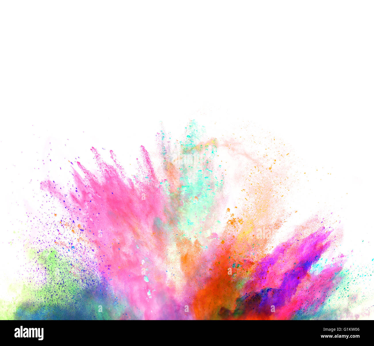 Colored powder explosion isolated on white background - Stock Image