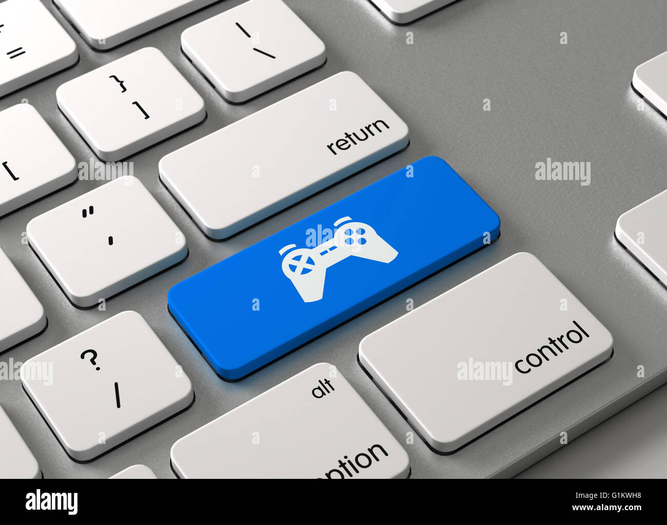A keyboard with a blue button Joystick - Stock Image