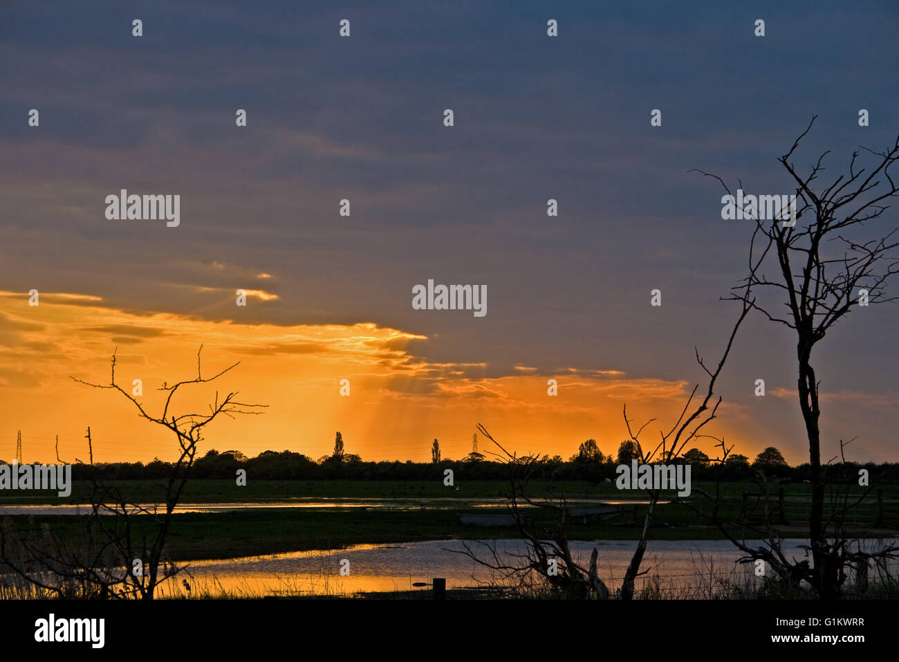 A Lincolnshire Sunset. Stock Photo