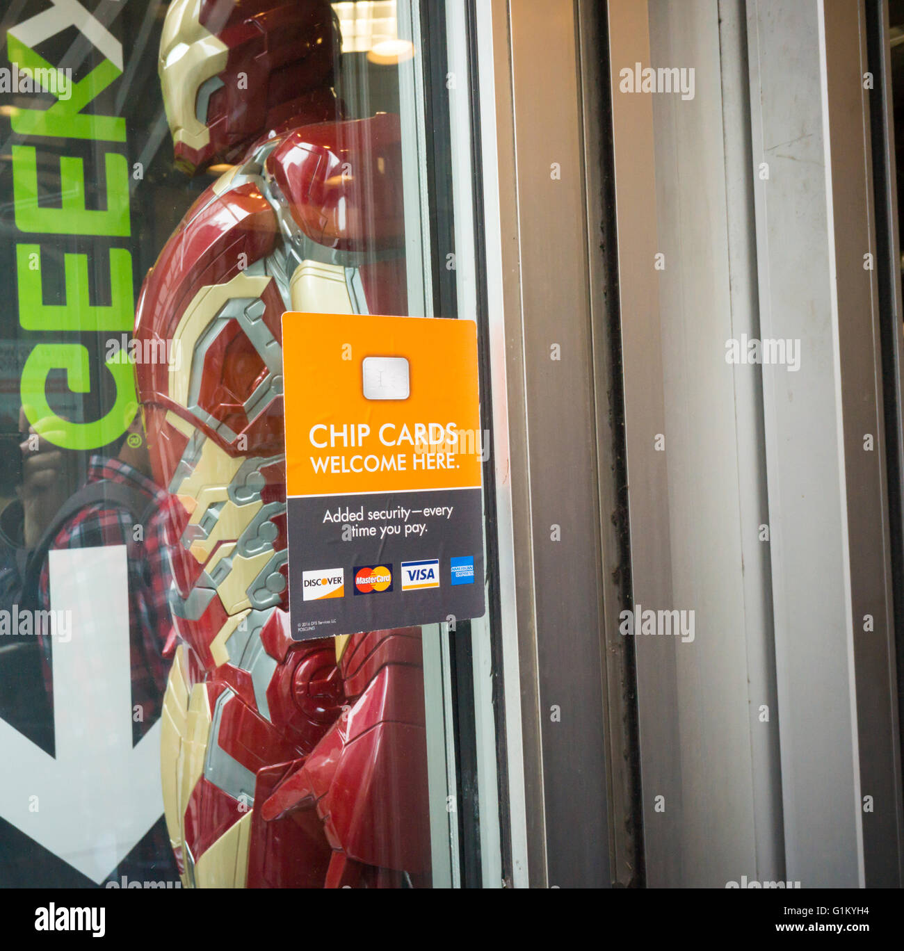 Attrayant A Sign On The Door Of A GameStop/ThinkGeek Store Informs Shoppers That The  New Chip Enabled Credit Card Readers Are Installed And In Use And Patrons  Can ...