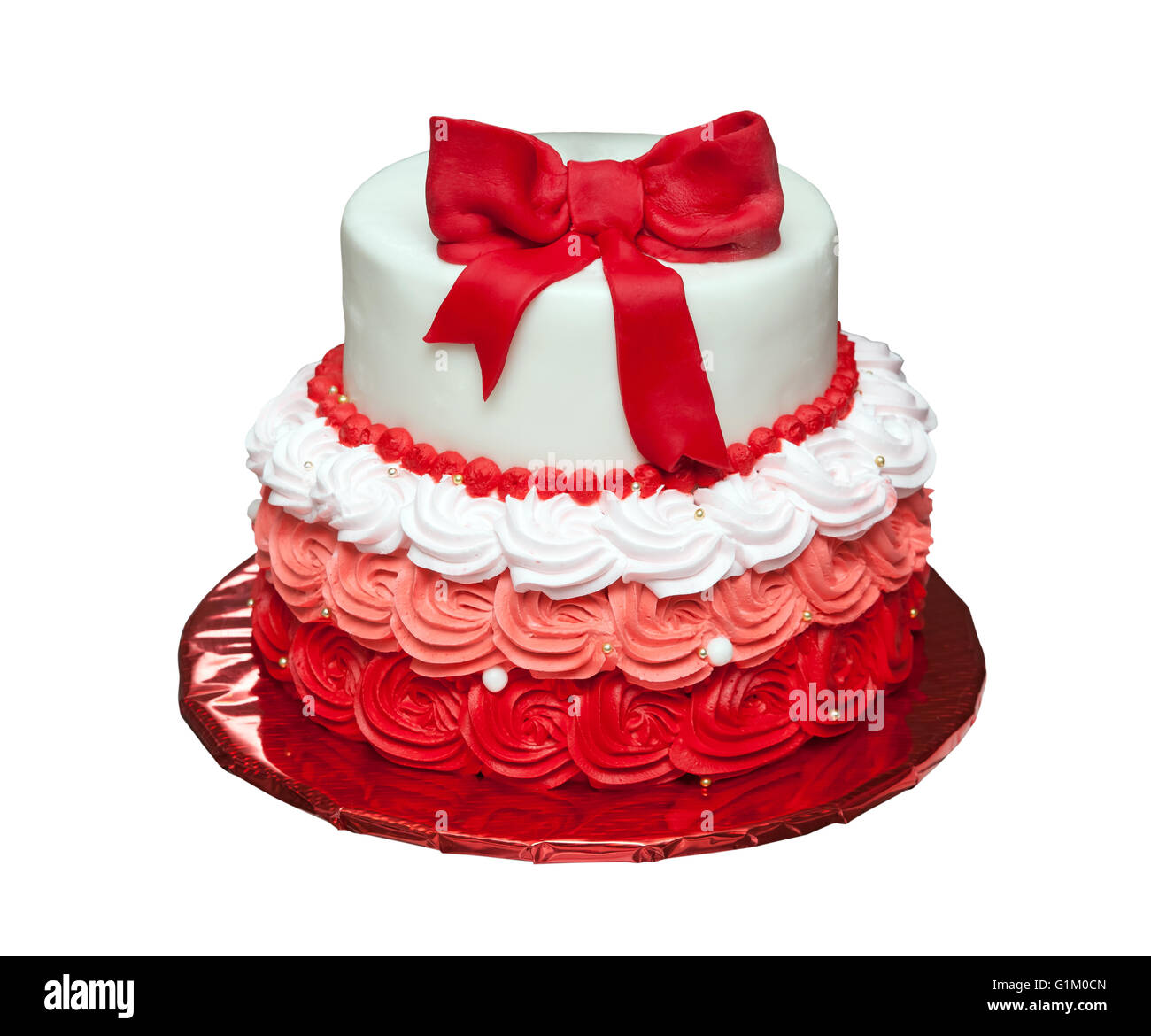 Brilliant Birthday Cake With Bow On Top Isolated Stock Photo 104316261 Alamy Personalised Birthday Cards Epsylily Jamesorg