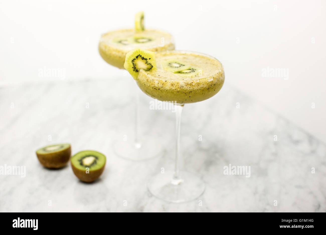 A skinny Margarita kiwi cocktail. - Stock Image