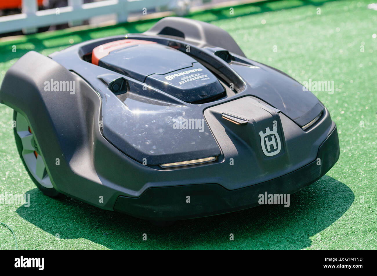 Husqvarna automower robotic automated lawn grass mower. - Stock Image