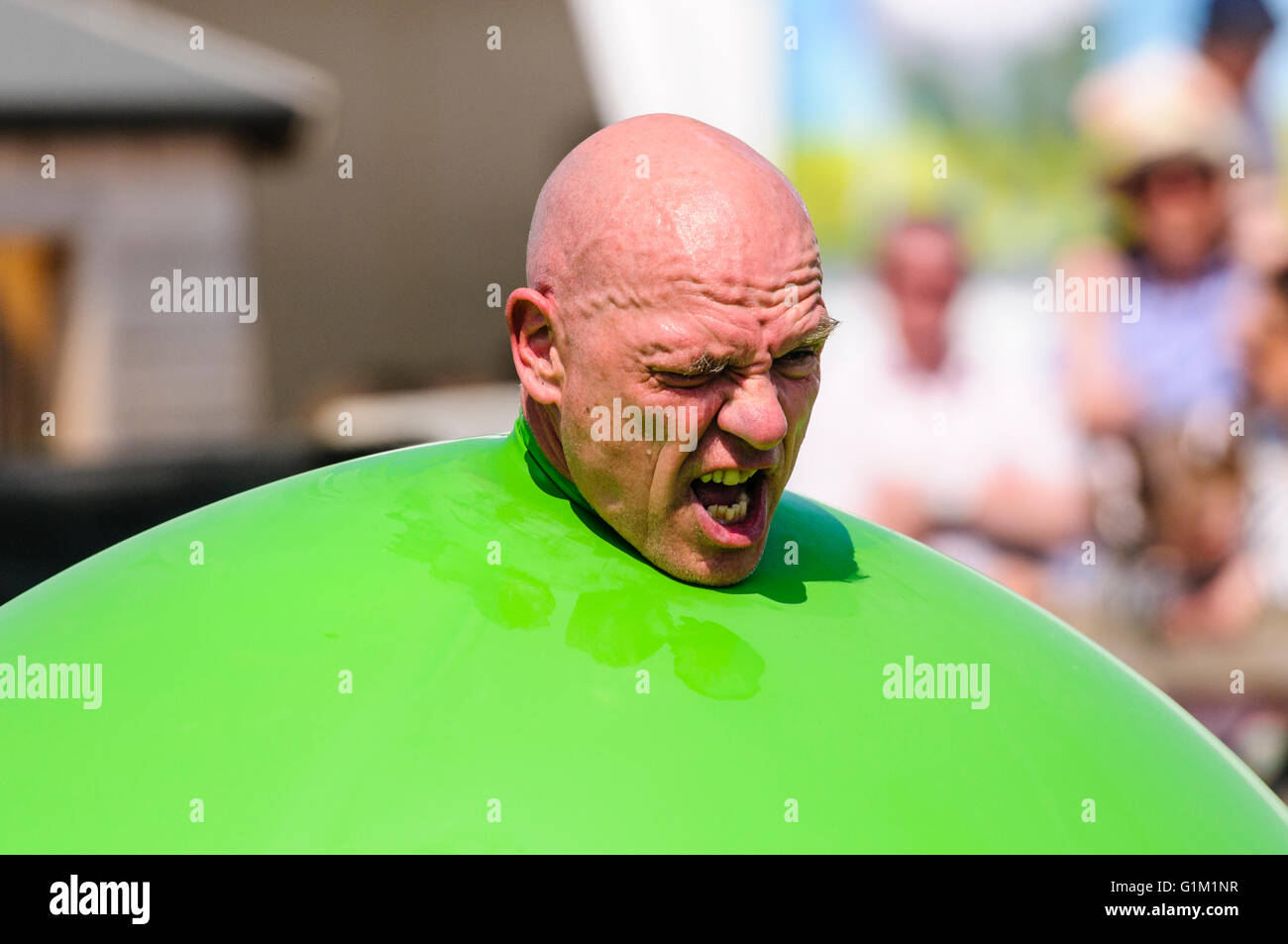A children's performer pushes his head out of a large green inflatable balloon. - Stock Image