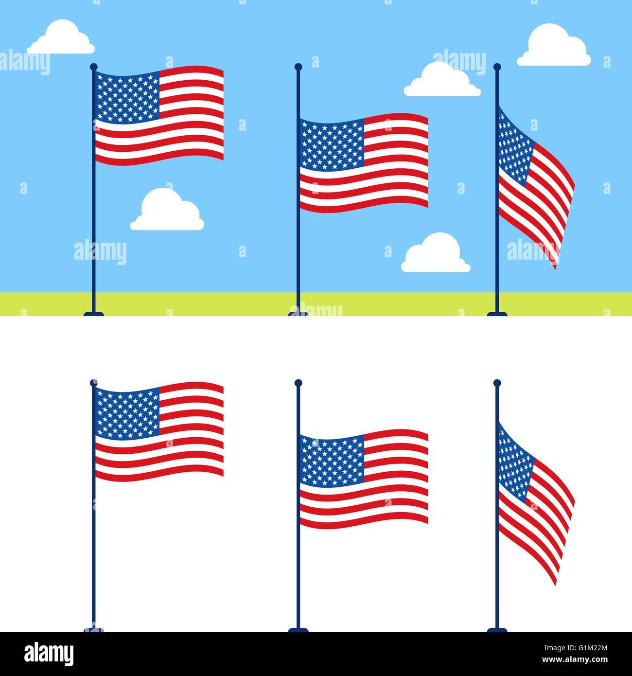 Flat USA flags vector set - Stock Vector